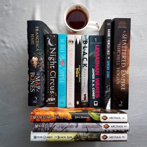 Earl Grey Editing, Mt TBR, books and tea, A Map of Bones, Francesca Haig, The Night Circus, Eric Morgenstern, The OTher Side of Summer, Emily Gale, Special, Georgia Blain, Tellow, Megan Jacobson, Black, Fleur Ferris, Leviathan Wakes, James S. A. Corey, The Expanse, Drums and Power Lines, Rowena Evans, A Shattered Empire, Michell Hogan, Mouse Guard, David Petersen