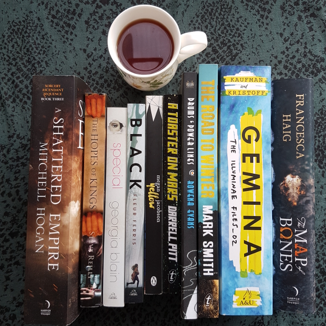 Earl Grey Editing, Mt TBR, books and tea, tea and books, A Shattered Empire, Mitchell Hogan, Special, Georgia Blain, Black, Fleur Ferris, Yellow, Gemina, Jay Kristoff, Amie Kaufman, The Road to Winter, Mark Smith, The Map of Bones, Francesca Haig