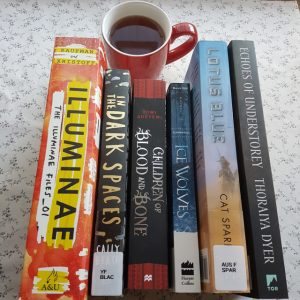 Earl Grey Editing, Mt TBR, Illuminae, Amie Kaufman, Jay Kristoff, In the Dark Spaces, Cally Black, Children of Blood and Bone, Tomi Adeyemi, Elementals, Ice Wolves, Lotus Blue, Cat Sparks, Echoes of Understorey, Thoraiya Dyer