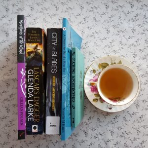 Earl Grey Editing, Mt TBR, Mountains of the Mind, Gillian Polack, The Lascar's Dagger, Glenda Larke, City of Blades, Robert Jackson Bennett, A Dream to Build a Kiss on, Narrelle M Harris, Fucking Apostrophes, Simon Griffen, tea and books, books and tea