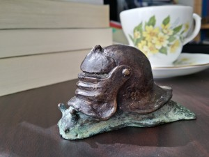 Sir Vivor, K.J. Bishop, snail, bronze, sculpture, tea, teacup