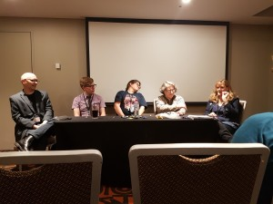 The Physical Cost of Writing panel. Sean Williams, James Hayman, Belinda Crawford, Gillian Polack, Dawn Meredith, Conflux 12, Red Fire Monkey.