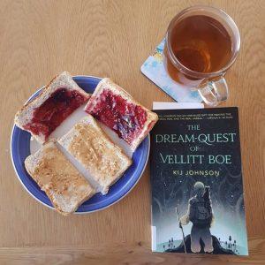 Dewey's readathon, tea and toast, The Dream Quest of Vellitt Boe, Kij Johnson, Earl Grey Editing, books and tea, tea and books