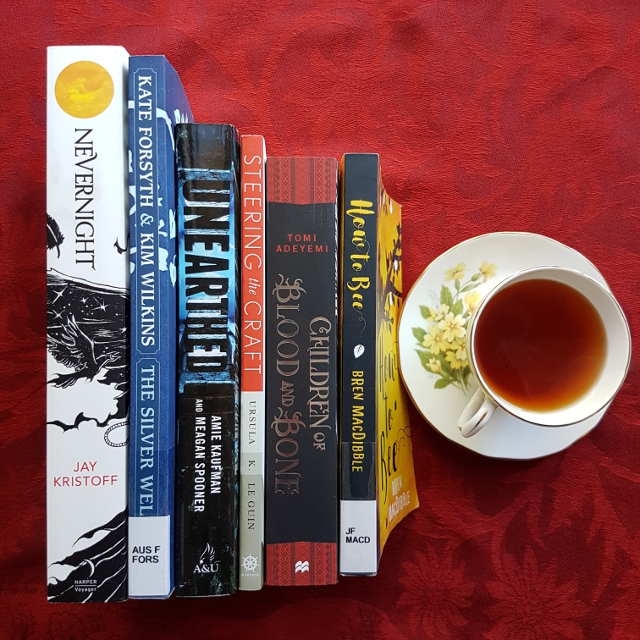 Mt TBR, Earl Grey Editing, Nevernight, Jay Kristoff, The Silver Well, Kate Forsyth, Kim Wilkins, Unearthed, Amie Kaufman, Meagan Spooner, Steering the Craft, Ursula Le Guin, Children of Blood and Bone, Tomi Adeyemi, How to Bee, Brenda MacDibble, books and tea, tea and books